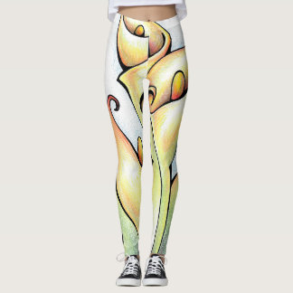 Vibrant Flower Arum Lily Cute Floral Leggings