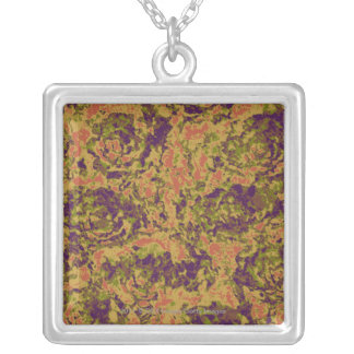 Vibrant flower camouflage pattern silver plated necklace