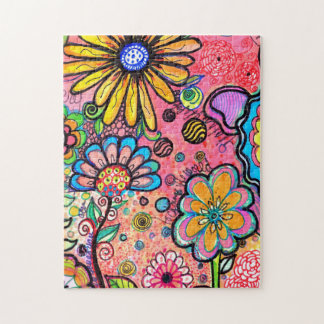 Vibrant Flower Drawings Jigsaw Puzzle