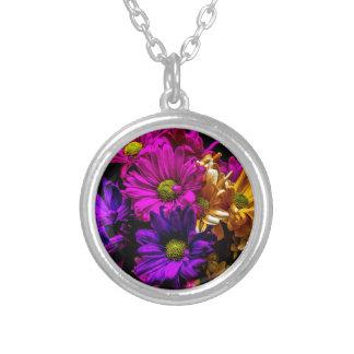 Vibrant Flowers Round Pendant Necklace