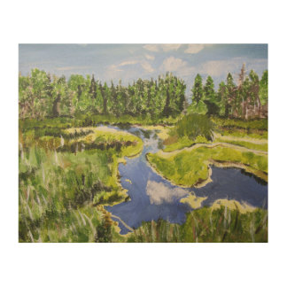 Vibrant Forest Wetland Wood Wall Decor