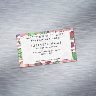 Vibrant Fruit Cocktail Illustrations on Stripes Magnetic Business Card