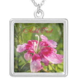 Vibrant Garden Flower Square Pendant Necklace