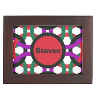Vibrant Geometric Multicolored Circles Personalize Keepsake Box