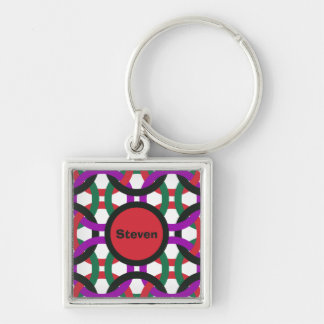 Vibrant Geometric Multicolored Circles Personalize Key Ring