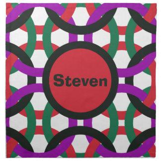 Vibrant Geometric Multicolored Circles Personalize Napkin