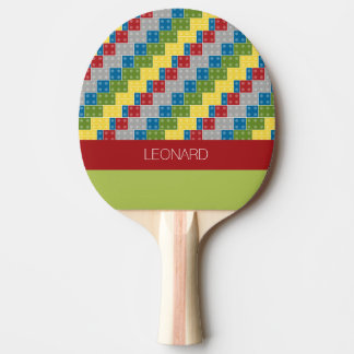 Vibrant Geometric Pattern with Custom Name Ping Pong Paddle