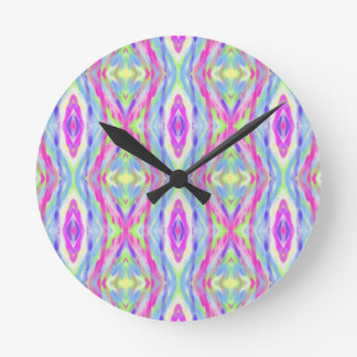Vibrant Girly Spring Pastel Tribal Pattern Clock