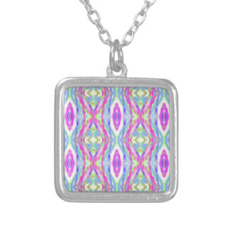 Vibrant Girly Spring Pastel Tribal Pattern Silver Plated Necklace