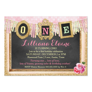 "Vibrant Gold Glitter First Birthday Banner 5"" X 7"" Invitation Card"