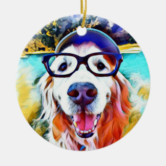 Vibrant Golden Retriever Nerd Glasses Painting Ceramic Ornament