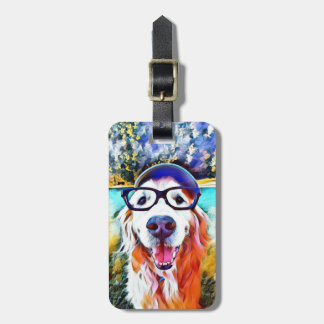 Vibrant Golden Retriever Nerd Glasses Painting Luggage Tag