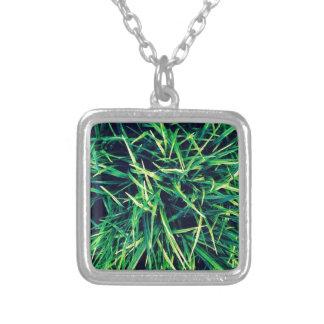 Vibrant grass square pendant necklace