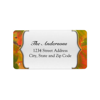 Vibrant Green and Red Fall Leaves Address Label