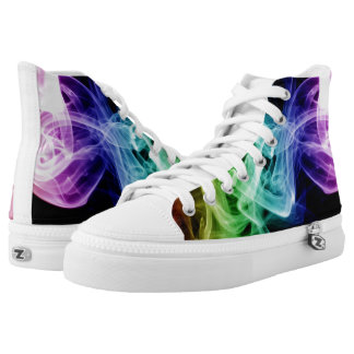 Vibrant Green Blue Purple Abstract Smoke High Tops