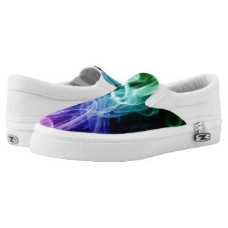 Vibrant Green Blue Purple Abstract Smoke Printed Shoes