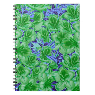 Vibrant Green Blue Vintage Flowers Notebooks