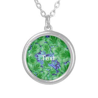 Vibrant Green Blue Vintage Flowers Round Pendant Necklace