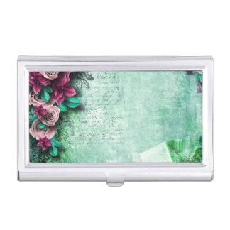 Vibrant Green & Purple Roses 3D vintage script Business Card Holder