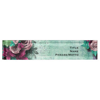 Vibrant Green & Purple Roses 3D vintage script Desk Name Plates