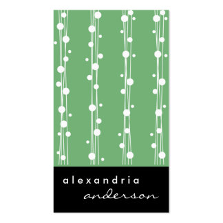 Vibrant Green Stylish Dots & Straw Business Cards