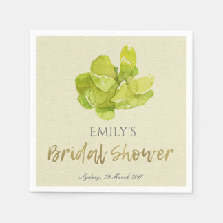 VIBRANT GREEN WATERCOLOR SUCCULENT BRIDAL SHOWER PAPER NAPKIN