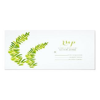 VIBRANT GREEN WATERCOLOUR FERN FOLIAGE RSVP CARD