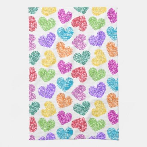 Vibrant Hearts Kitchen Towel
