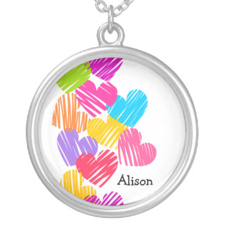 Vibrant Hearts with Name necklace