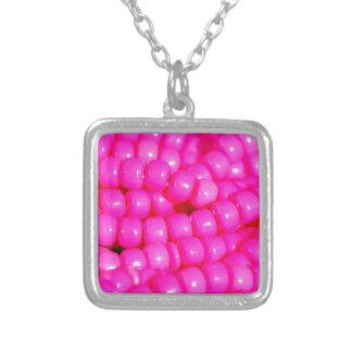 Vibrant Hot Pink Bead Print Square Pendant Necklace