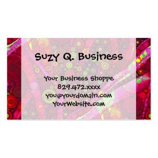 Vibrant Hot Pink Concentric Circle Mosaic Business Card Templates