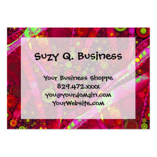 Vibrant Hot Pink Concentric Circle Mosaic Business Card Template