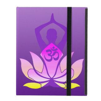 Vibrant Hue Om Lotus Yoga Pose iPad Cover