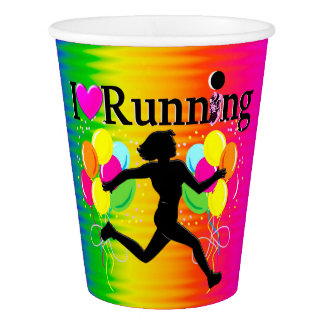 VIBRANT I LOVE RUNNING PAPER CUPS