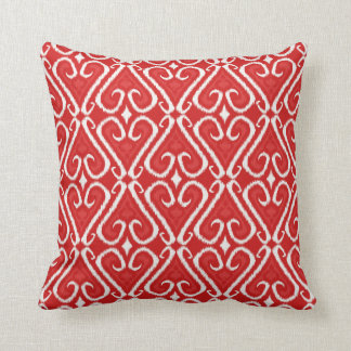 Vibrant ikat pattern in red and gold throw pillow
