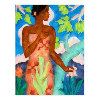 Vibrant Island Hues and Polynesian Woman Postcard