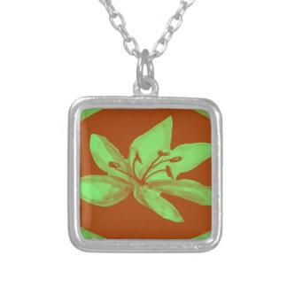 Vibrant lily square pendant necklace