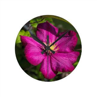 Vibrant Magenta Pink Clematis Blossom Wall Clock