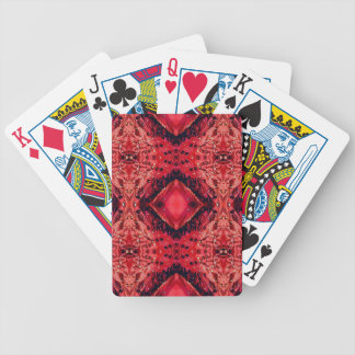 Vibrant Magenta Red Black Diamond Pattern Bicycle Playing Cards