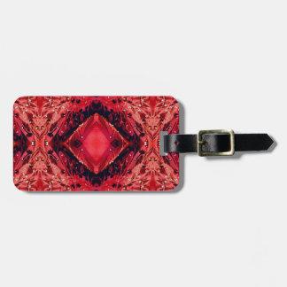 Vibrant Magenta Red Black Diamond Pattern Luggage Tag