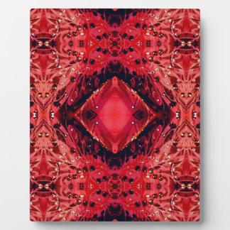 Vibrant Magenta Red Black Diamond Pattern Plaque