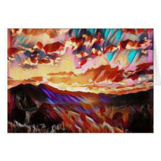 Vibrant Majestic Mountain Sunset Card