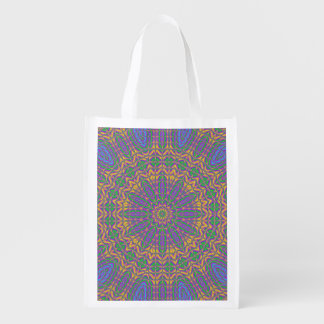 Vibrant Mandala 2 Reusable Grocery Bag