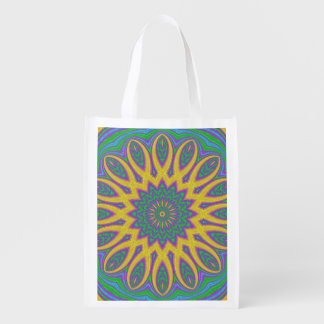 Vibrant Mandala Reusable Grocery Bag