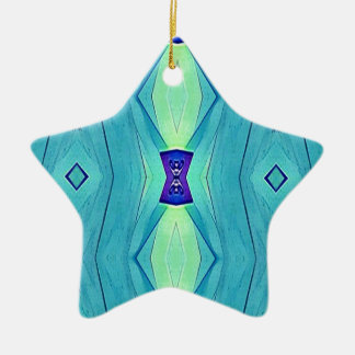 Vibrant Modern Shades Of Teal Blue Mint Ceramic Star Decoration