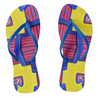 Vibrant Modern Symmetrical Pattern Thongs