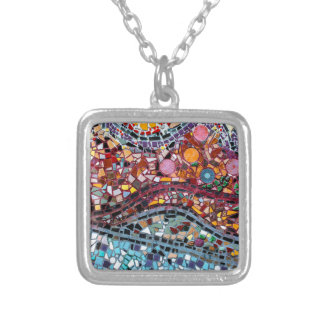 Vibrant Mosaic Wall Art Silver Plated Necklace