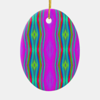 Vibrant Neon Girly Pink Teal Cool Pattern Ceramic Ornament