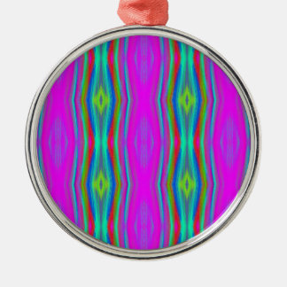 Vibrant Neon Girly Pink Teal Cool Pattern Metal Ornament