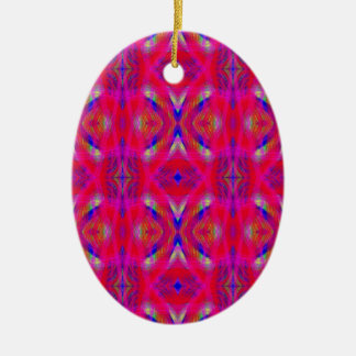 Vibrant Neon Hot Pink Chic Pattern Ceramic Ornament